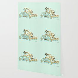 Zero F*cks Given – Powder Blue & Gold Palette Wallpaper