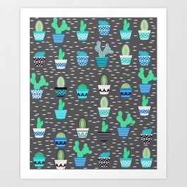 Potted cacti on a gray background Art Print