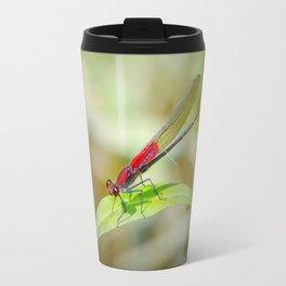Red Damselfly Dragonfly Travel Mug
