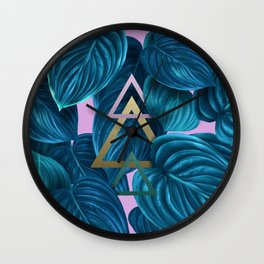 tropical turquoise leaves pattern Wall Clock