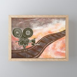 Watercolor Illustration of classic filming camera with reels and film stripes  Framed Mini Art Print