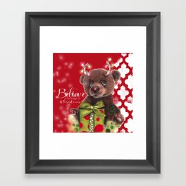 Bruno Christmas Bear (Rudolph Fan) Framed Art Print