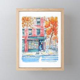 Bookstore in Manhattan | New York City | NY Watercolor Framed Mini Art Print