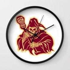Grim Reaper Lacrosse Defense Pole Retro Wall Clock