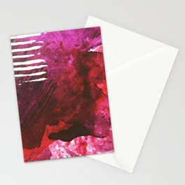 You set me on fire: a vibrant, colorful mixed media piece in red, purple, black and white Stationery Cards