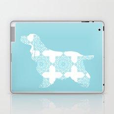 Cocker Spaniel Dog on blue damask designs Laptop & iPad Skin