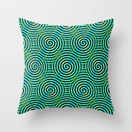 Blue Green Spirals Pattern Throw Pillow