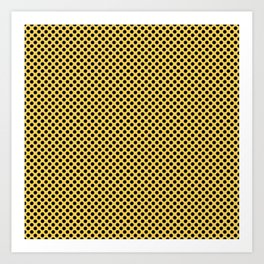 Primrose Yellow and Black Polka Dots Art Print