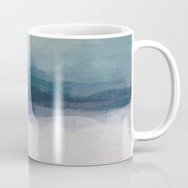 Dark Teal Blue, White, Pink, Light Blue Modern Wall Art, Ocean Waves Diptych Nursery Beach Decor Art Coffee Mug