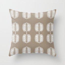 TROPICAL PALMS . COCOA + WHITE Throw Pillow