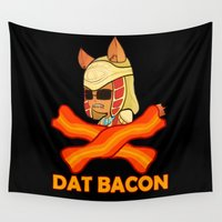 bacon Wall Tapestries featuring Dat Bacon by MezmoreyezGaming