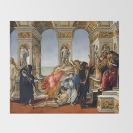 "Sandro Botticelli ""The Calumny of Apelles"" Throw Blanket"