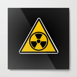 radioactive warning triangle Metal Print