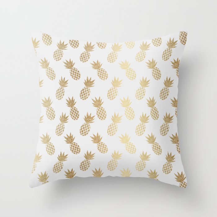 Gold Pineapple Pattern Throw Pillow