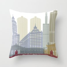 Chicago skyline poster Throw Pillow