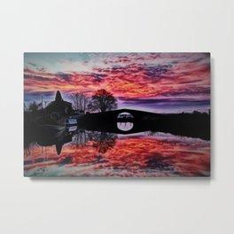 Canal du Midi, France Sunset Landscape Metal Print