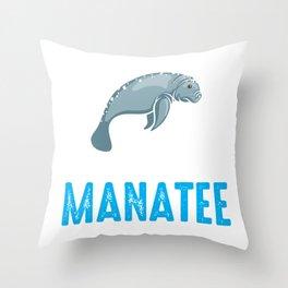 Funny Manatee Cute Sea Animal Marine Biologist Throw Pillow
