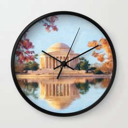 Cherry Blossoms surround the Jefferson Memorial in DC Wall Clock