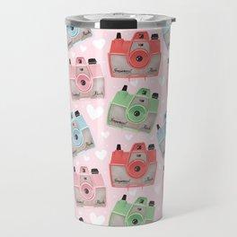 Vintage Camera Pattern - Pink Travel Mug