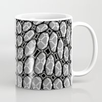gray pattern Mugs featuring Gray Pepples Pattern by Pia Schneider