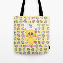Easter Chick with Bunny Ears Tote Bag