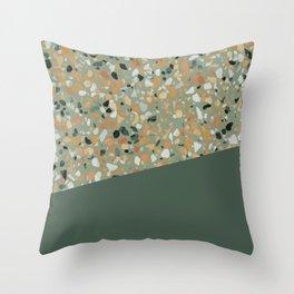 Terrazzo Texture Military Green #4 Throw Pillow