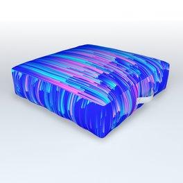 Neon Rain - A Digital Abstract Outdoor Floor Cushion