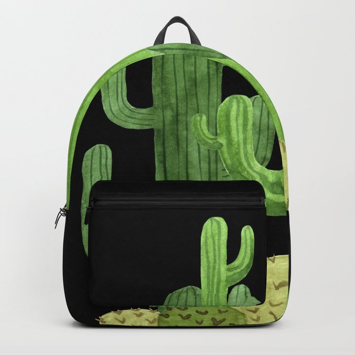Desert Vacay Three Cacti on Black Backpack