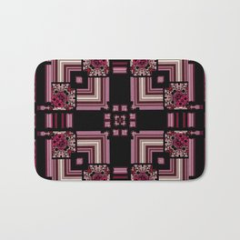 Abstract Pink Black Square Multi Pattern design Bath Mat