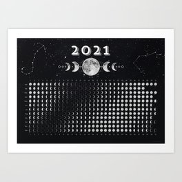 Moon Calendar 2021 (Moon phases 2021) — #6 Art Print