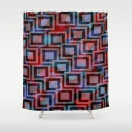 Black and White Squares Pattern 04 Shower Curtain