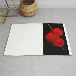 Cute yarn heart with knitting needles- Woman knitter crochet T-Shirt Rug