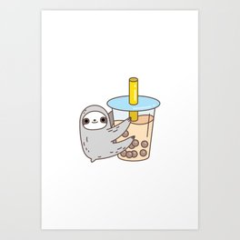 Sloth Loves Bubble Tea Art Print