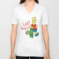 simpson V-neck T-shirts featuring FART SIMPSON by Josh LaFayette