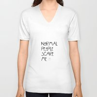 ahs V-neck T-shirts featuring Normal People Scare Me - AHS by swiftstore