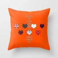 scott pilgrim Throw Pillows featuring Scott Pilgrim vs. The World - Kim by MacGuffin Designs