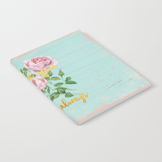 I love you- always - Gold glitter Typography on floral watercolor illustration Notebook