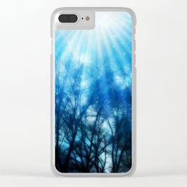 There Is Hope In the Light : Black Trees Blue Space Clear iPhone Case