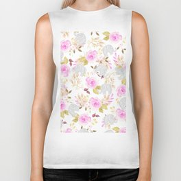 Modern pink gray watercolor hand painted floral elephant Biker Tank