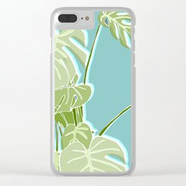 Block Printed Leaves Clear iPhone Case