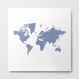 World with no Borders - powder blue Metal Print