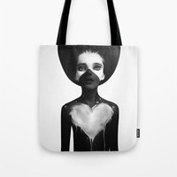 sad Tote Bags featuring Hold On by Ruben Ireland
