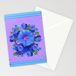 Baby Blue-Lilac Pattern Morning Glories Art Stationery Cards