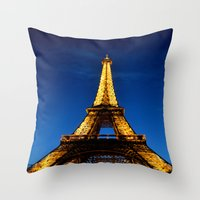 eiffel Throw Pillows featuring Eiffel by Heather Hartley