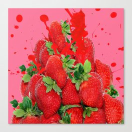 JUICY RED STRAWBERRIES PINK ART Canvas Print