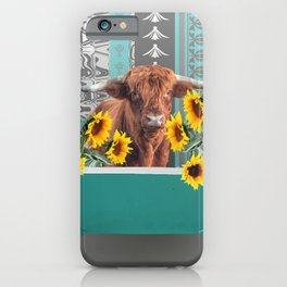bathtub with Highland cow and sunflowers iPhone Case