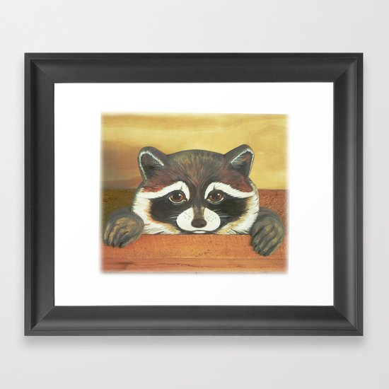 """Raccoon """"Here's Looking at YOU"""" Framed Art Print"""