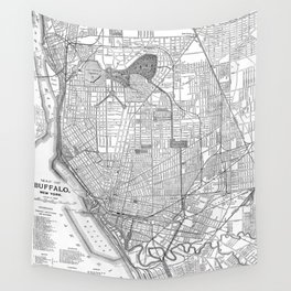 Vintage Map of Buffalo New York (1891) BW Wall Tapestry