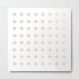 Gold Geometric Swiss Cross Pattern Metal Print