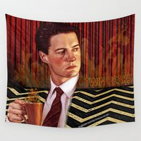 twin peaks Wall Tapestries featuring Twin Peaks  by Magdalena Almero